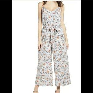 NWOT Leith Floral Jumpsuit Wide Leg Blue Strappy